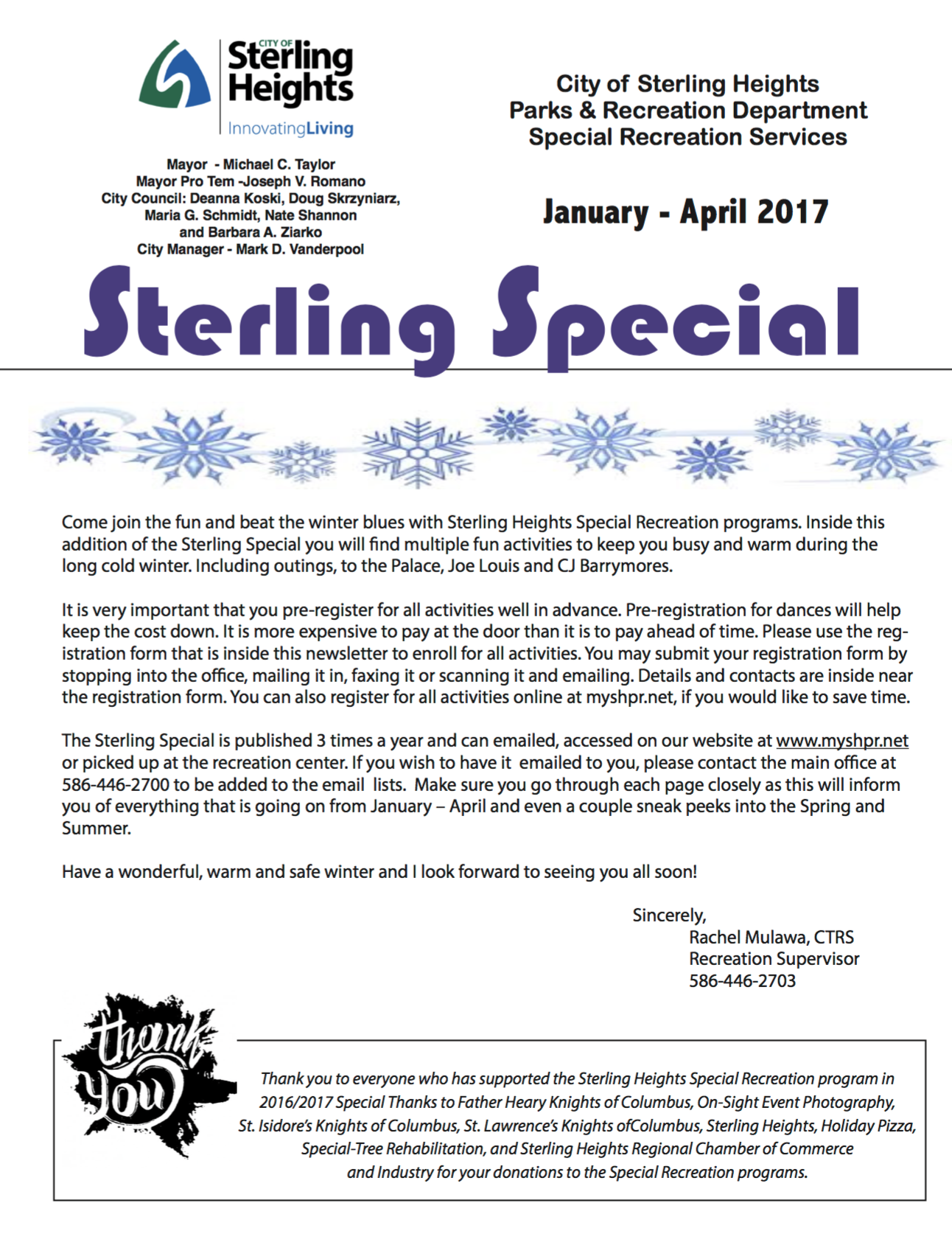 Sterling Special Newsletter