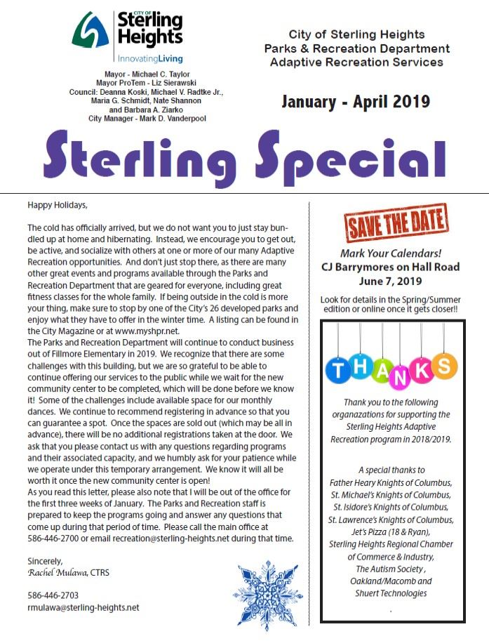 Sterling Special Winter 2019